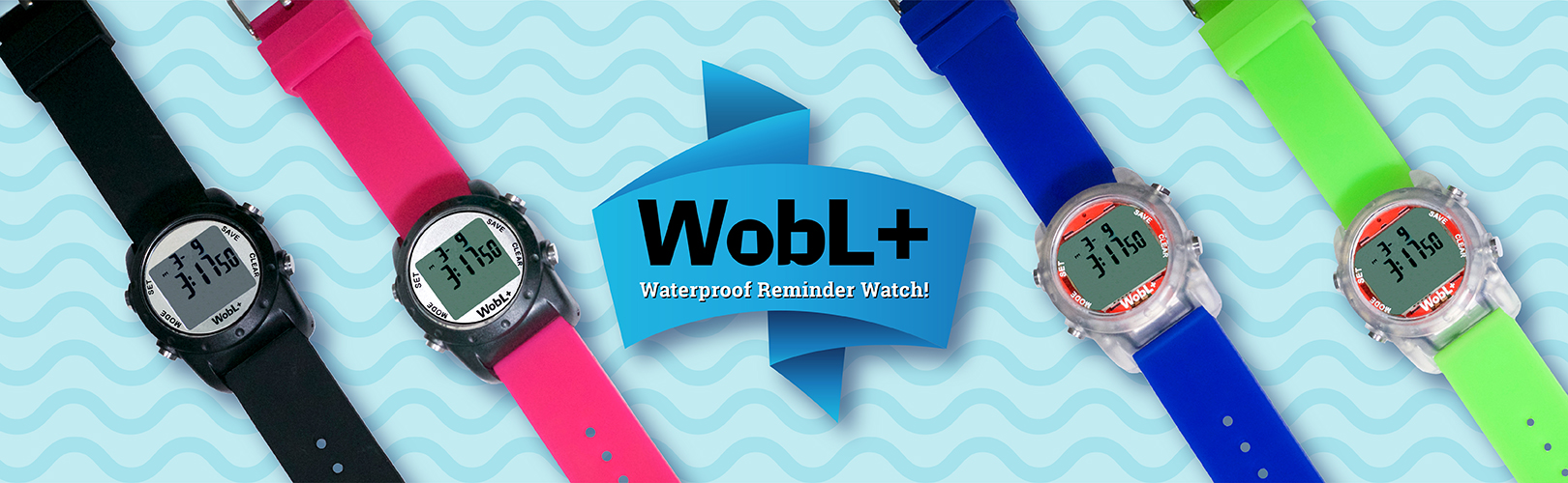 WobL+ waterproof vibrating alarm watch in four colors