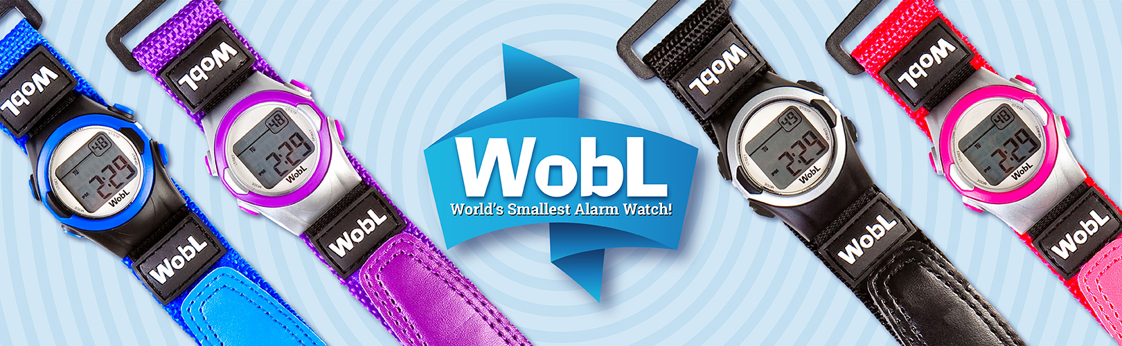 WobL vibrating alarm watch in four colors.