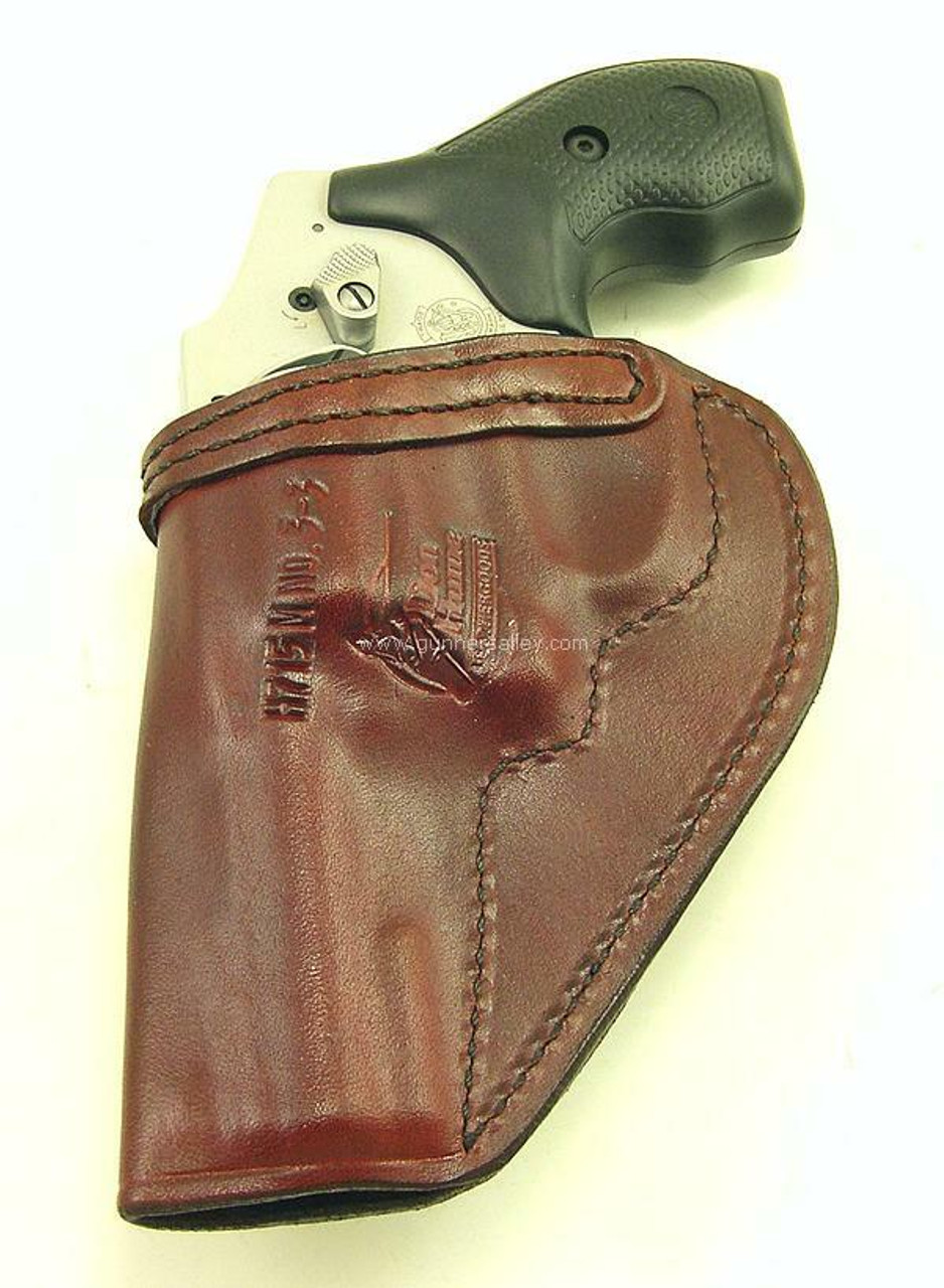 """Saddle Brown - Rear View - Shown with a S&W J Frame 3"""" Revolver for Demonstration Purposes"""