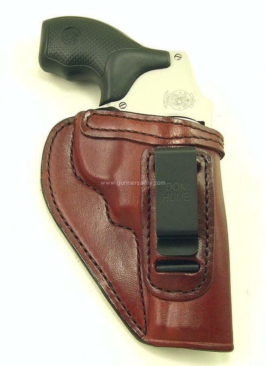 """Saddle Brown - Front View - Shown with a S&W J Frame 3"""" Revolver for Demonstration Purposes"""