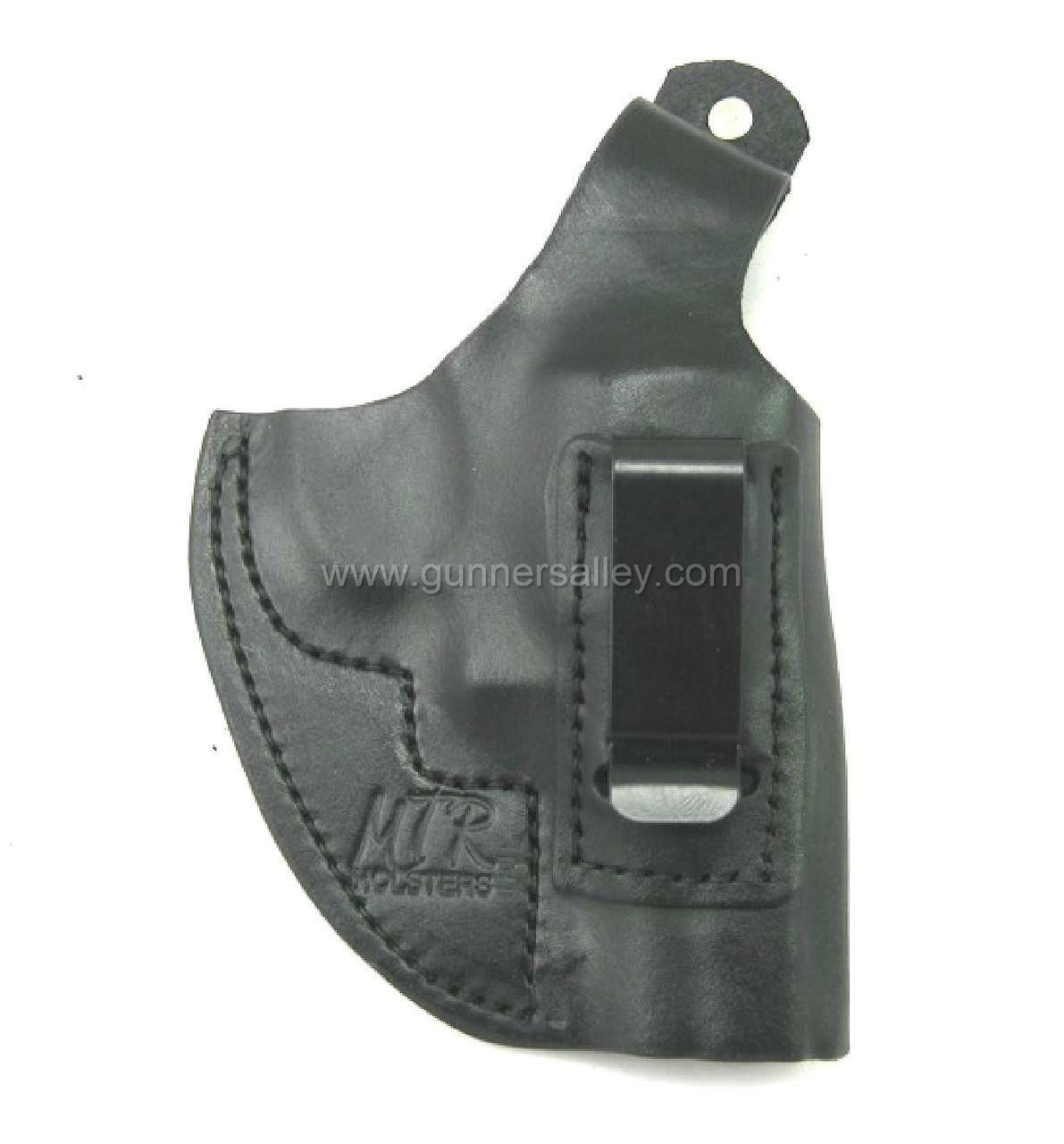 """RH Black MTR Custom Adversary Clip-On IWB Holster with Thumb Break for a S&W L Frame Revolver 2.5"""" Barrel - Front View"""