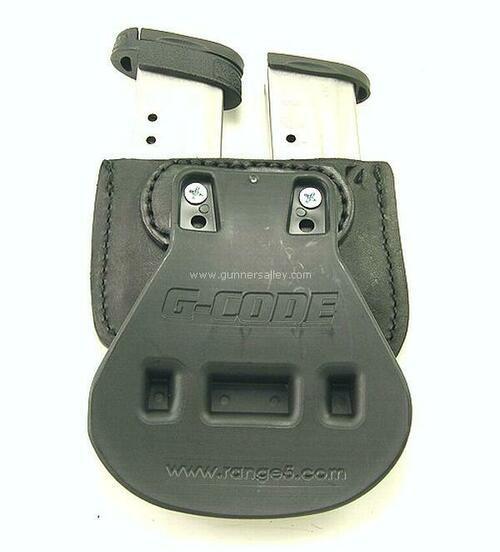 MTR Custom Double Paddle Mag Carrier in Black bullhide - Rear View