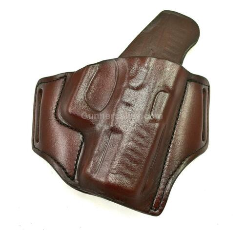 RH Mahogany MTR Custom Slimline Deluxe Pancake Holster for a Walther PPQ SC - Front View