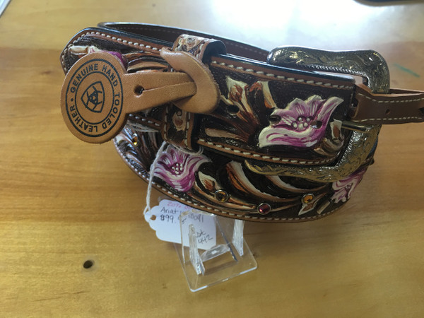 Ariat Ladies Large Floral Tooled Painted Belt
