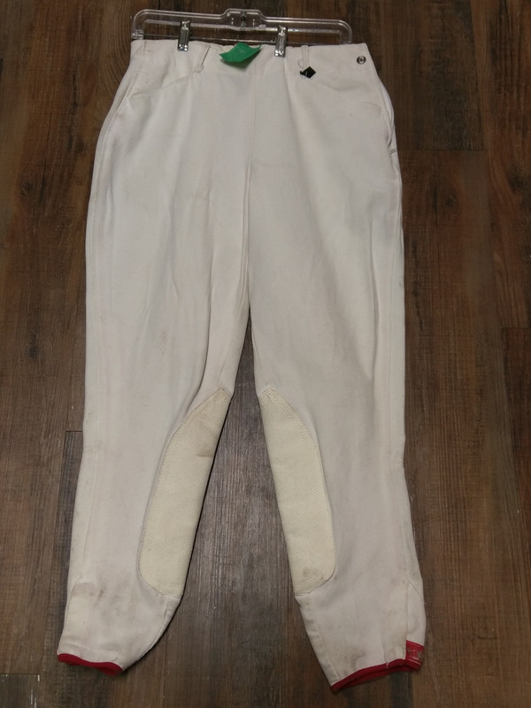 30L White Breeches with red piping