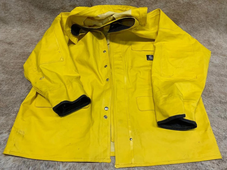 Large Mens Carhartt Yellow Rain Jacket