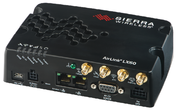 """The AirLink® LX60 is the industry's first LTE and LTE-M / NB-IoT router for commercial and enterprise applications. The LX60 offers """"out-of-the box"""" connectivity that is simple to install, and easy to manage providing your equipment or business with a primary or backup LTE connection. The LX60 provides purpose-built, secure, reliable, managed LTE networking in IoT applications such as Building Automation, Digital Signage, Taxis, ATMs, Kiosks and Point-of-Sale terminals."""