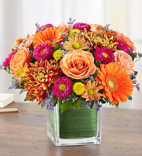 They'll enjoy the golden glow of Autumn in our beautifully handcrafted seasonal arrangement. Bright and cheerful, it features a full range of fall's palette with pops of color to surprise and delight. Arranged in a tasteful, simple glass cube, it's an expression of sentiment that's just right for any celebration of the season.