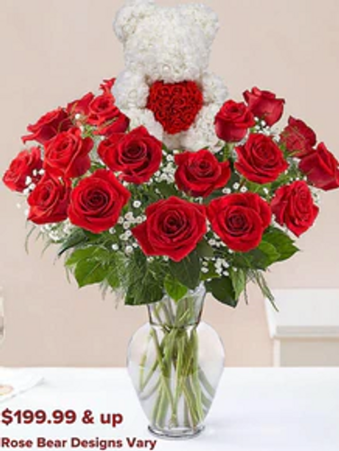 Rose Bear with 2 Dozen Roses