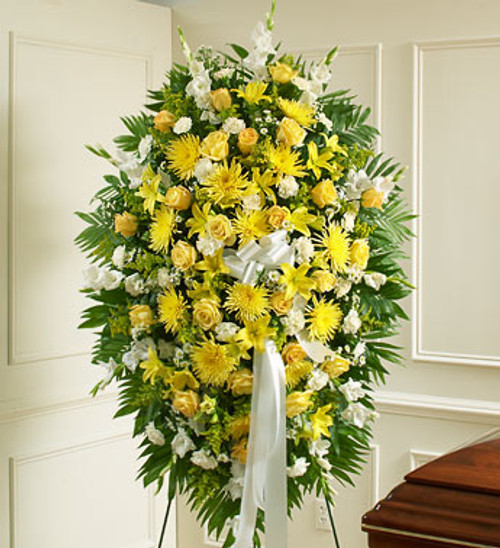 Yellow & White Sympathy Standing Spray Inglewood California Flower Delivery