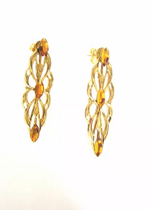 Filigree Pendant  Earrings Accented with Topaz Swarovski Crystals