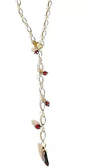Garnet Y Lariat Necklace