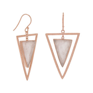 "14 karat rose gold plated sterling silver hammered open triangle french wire earrings with center dangling 21mm x 14mm rough cut rose quartz triangle. The earring hangs approximately 2"".  .925 Sterling Silver"