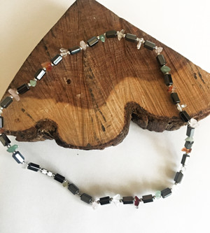 Semiprecious Stone & Hematite Necklace