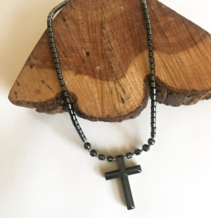 Hematite Simple Cross Necklace
