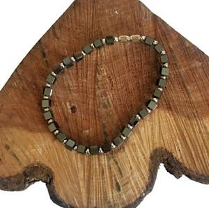 Hematite Cube Silver Bead Bracelet