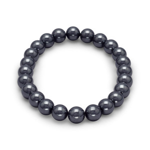 Men's Magnetic Hematite Round Bead Bracelet