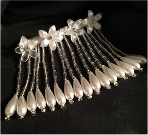 Rhinestone and Resin Flowered Fringe with Pearl Accented Hairpin