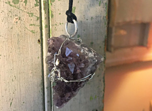 Raw Amethyst Wire Wrapped Necklace