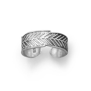 Feather Oxidized Sterling Toe Ring