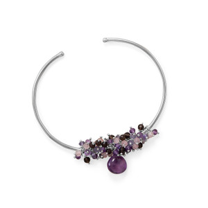 Rhodium Plated Multi Stone Beaded Cuff Bracelet