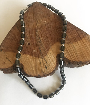 Unisex Hematite Barrel Bead Necklace