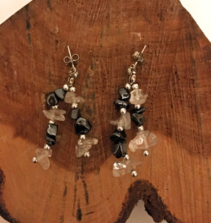 Hematite & Crystal Quartz Earrings