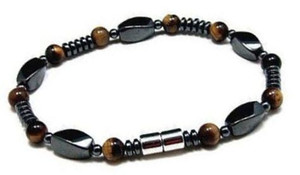 Men's Magnetic Hematite Tiger Eye Bead Bracelet