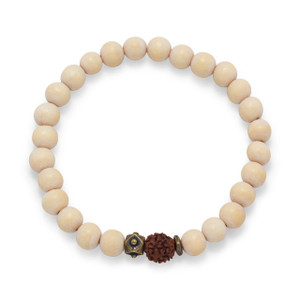 White Wood Bead Bracelet