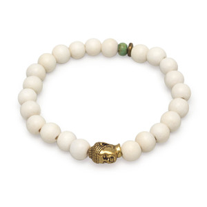 White Wood Buddha Bead Bracelet