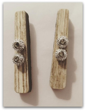 White Beige and Gray Wooden Bar and Smokey Gray Swarovski Rhinestone Earrings