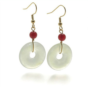 Jade Disc and Carnelian Earrings