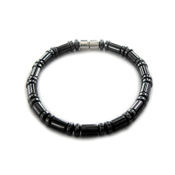 Men's Magnetic Hematite Cylinder Bead Bracelet