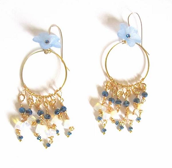 Blue Flower Hoop Dangle Earrings