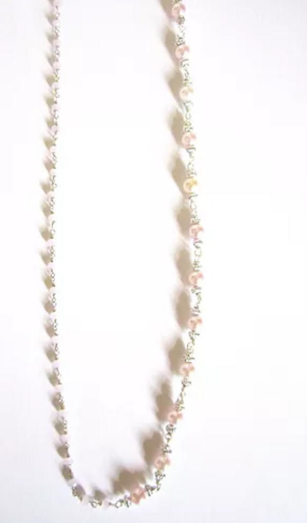 Pink Pearl and Crystal Necklace
