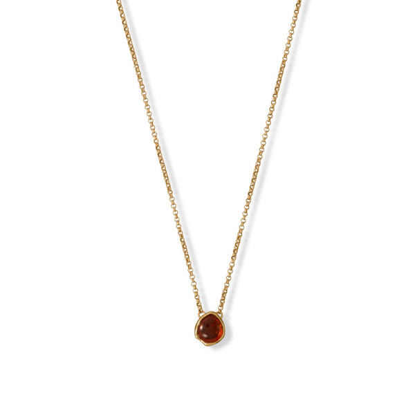 24 Karat Gold Plated Hammered Edge Pear Amber Necklace