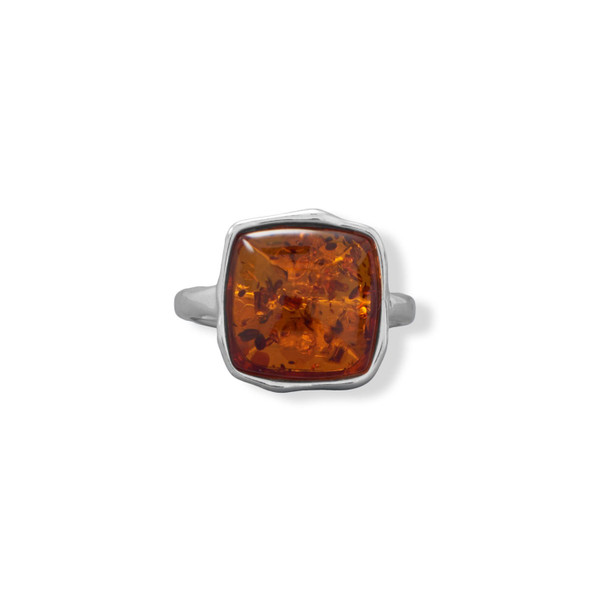 Hammered Square Amber Ring