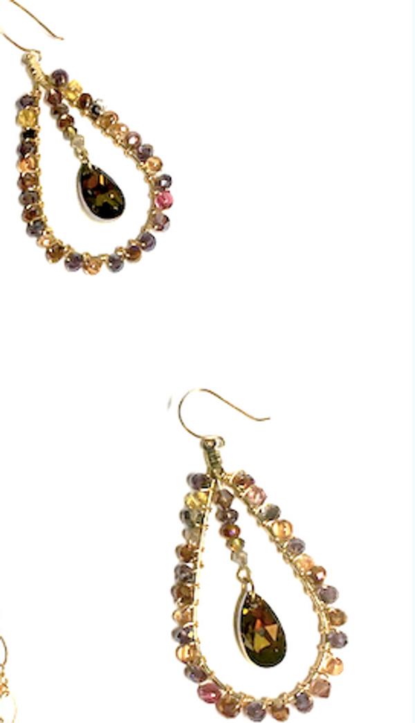 Topaz Swarovski Crystal and Earth Tone Earrings