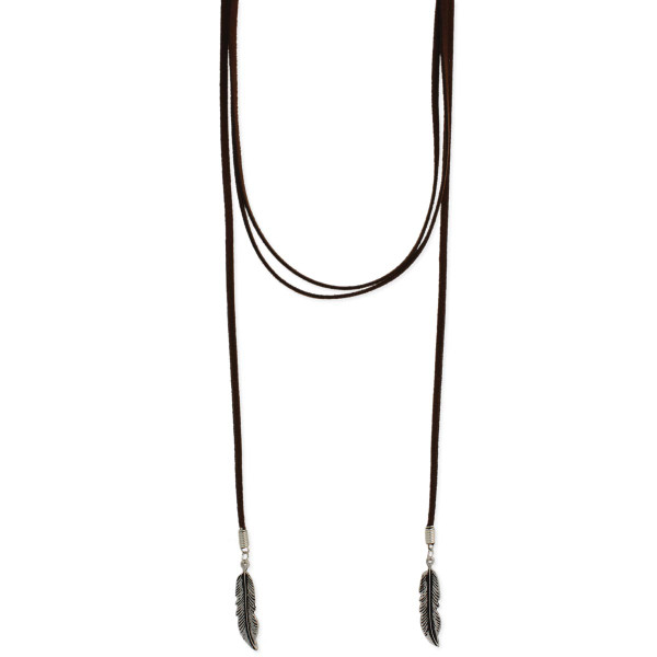 Brown Suede Silver Feather Lariat Necklace