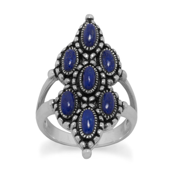Ornate Oxidized Lapis Ring