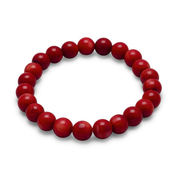 """8mm red coral bead stretch bracelet.  Size 7"""" long."""