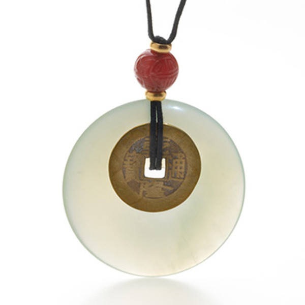 """Jade """"Bi"""" Disc with I Ching Coin"""
