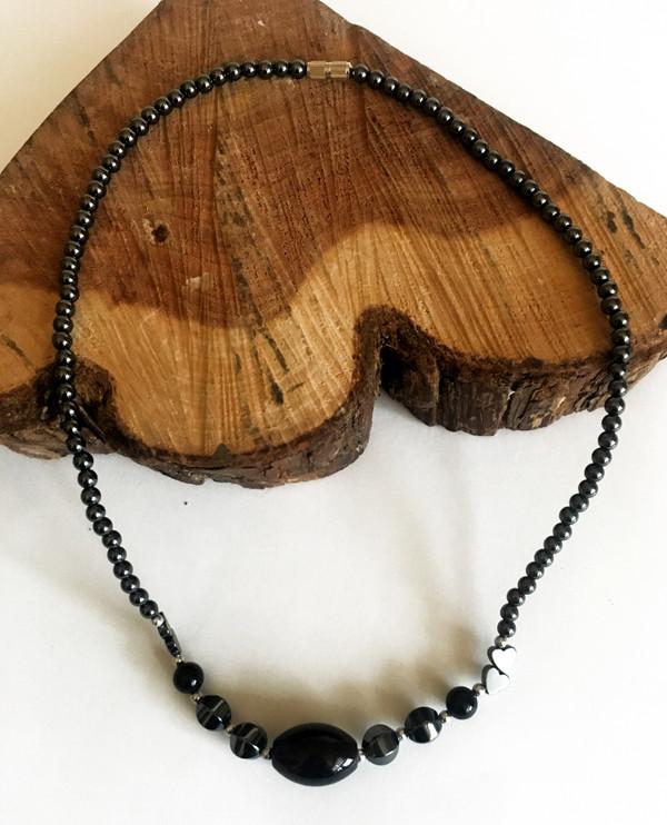 Hematite & Black Onyx Gemstone Necklace