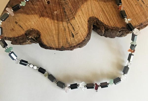 Semiprecious Stone & Hematite Necklace