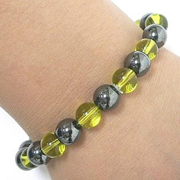 Hematite & Glass Magnetic Bracelet