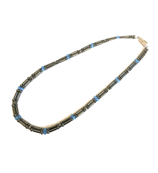 Magnetic Hematite Double Strand Blue Cats Eye Bead Necklace