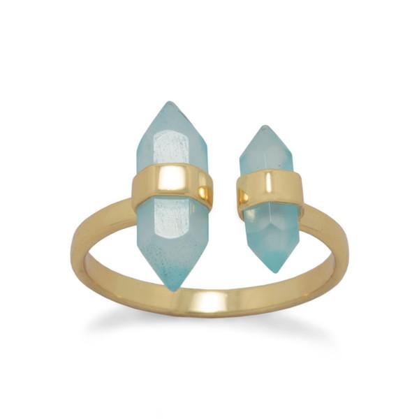 14 Karat Gold Plated Aqua Chalcedony Split Ring