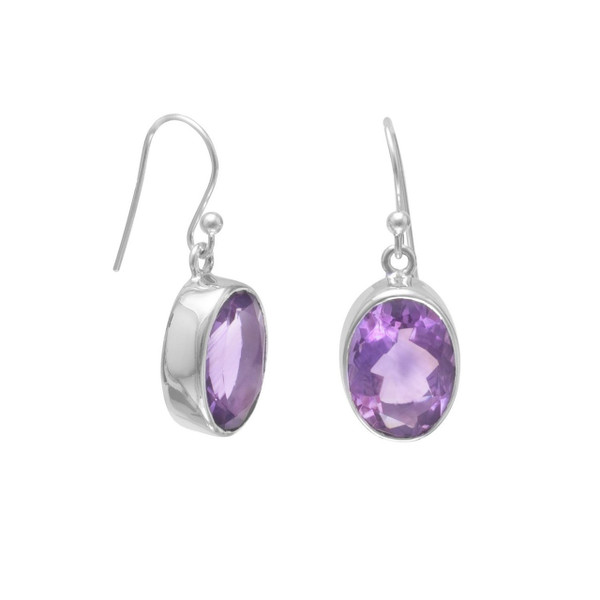 Faceted Amethyst French Wire Earrings