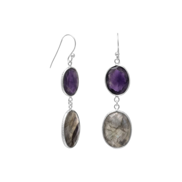 Freeform Amethyst and Labradorite Earrings