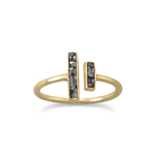 14 Karat Gold Plated and Diamond Chip Ring